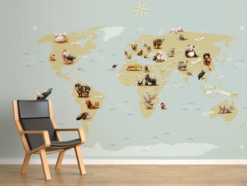 mira este mapamundi en papel pintado infantil tan especial encontrars los animales que estn en