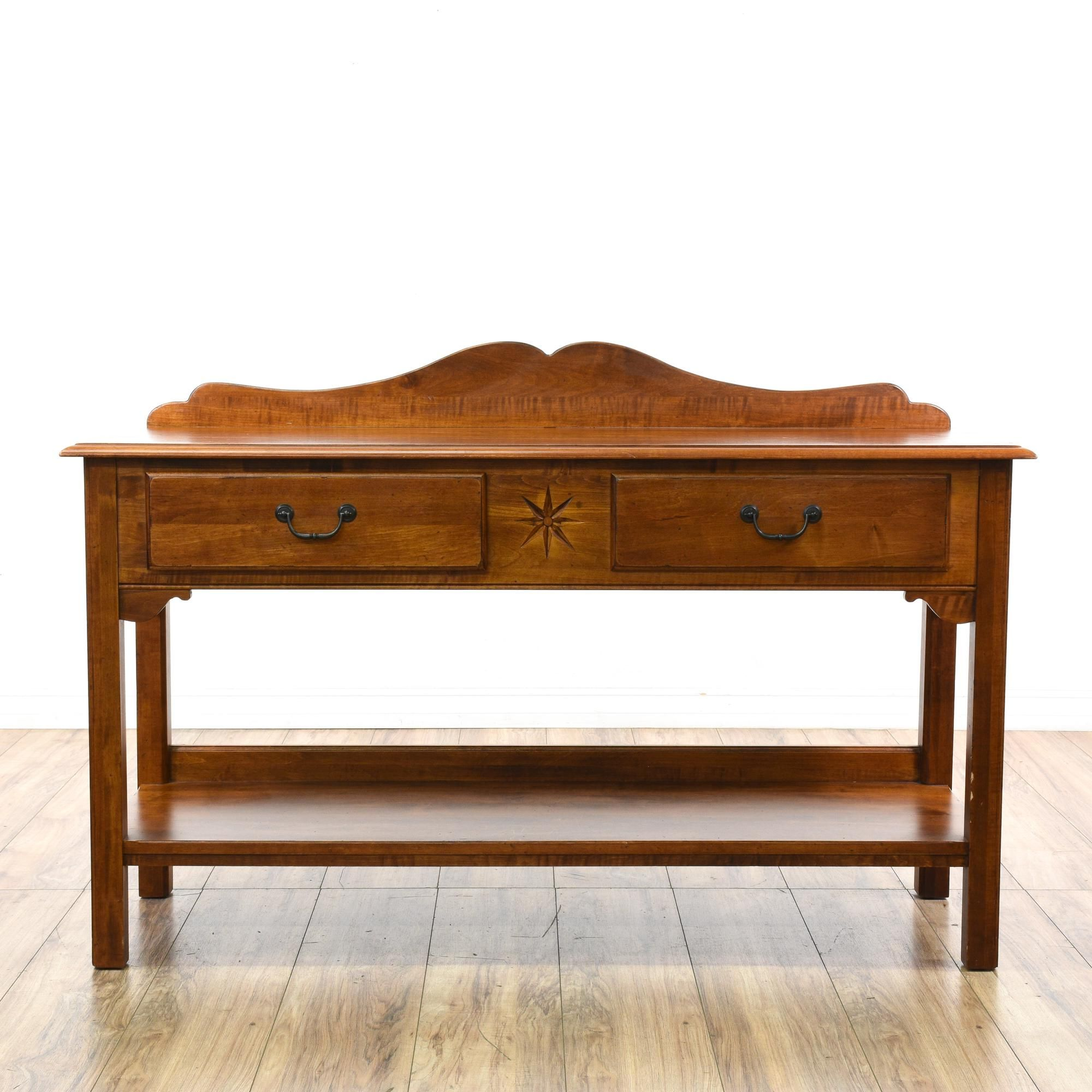 """ethan allen"""" maple tiered console table sideboard 