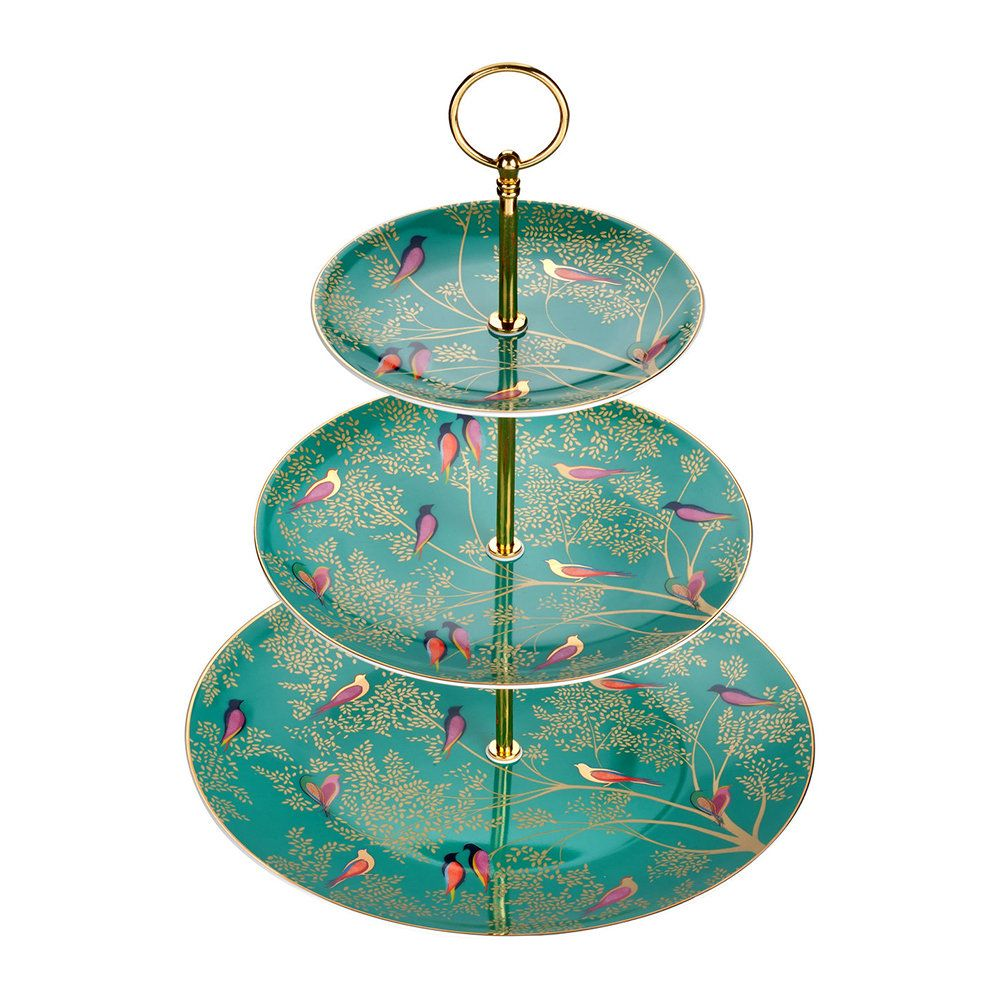 NEW Sara Miller Chelsea Collection Cake Stand Green