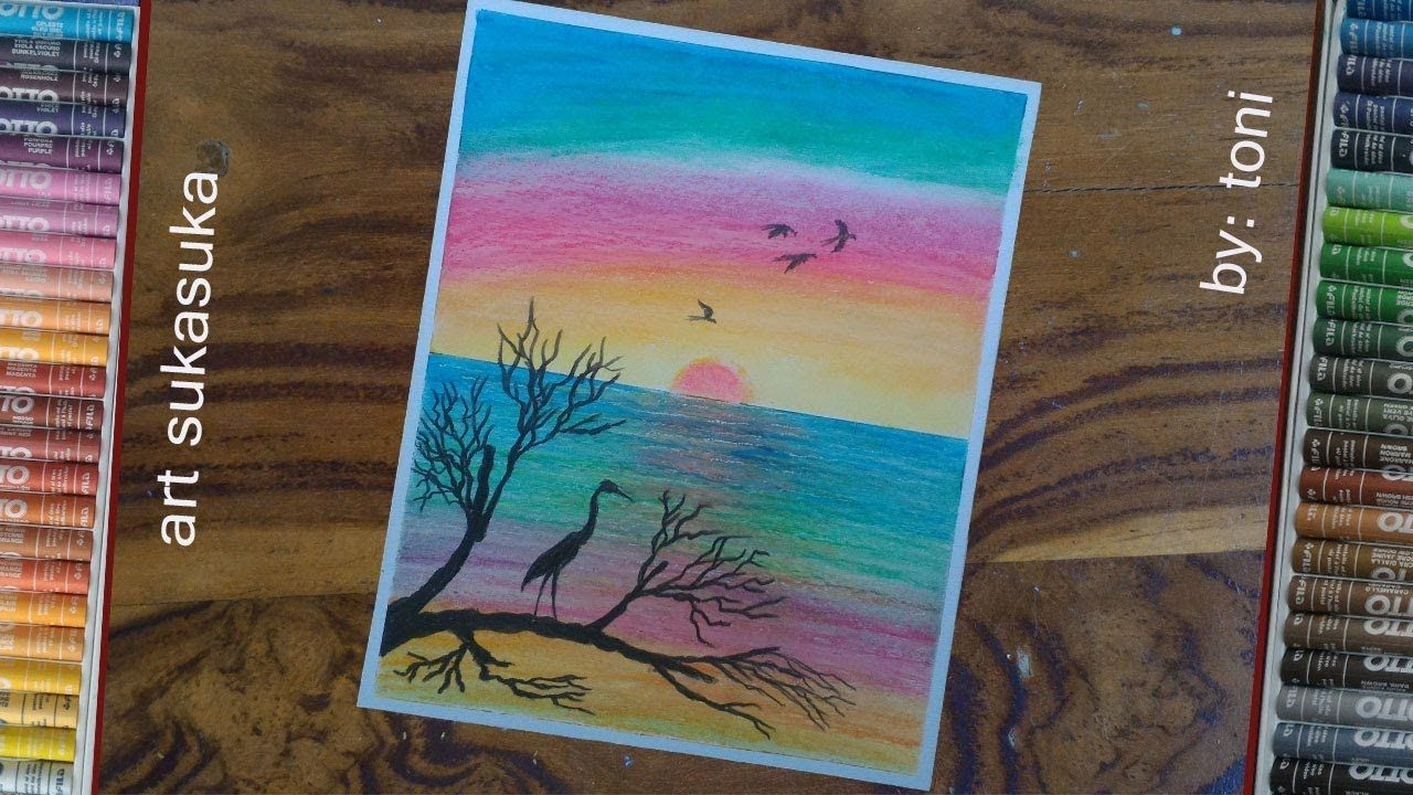 Gambar Siluet Dan Pemandangan Laut Cara Menggambar Menggunakan Crayon Art Diy And Crafts Crafts