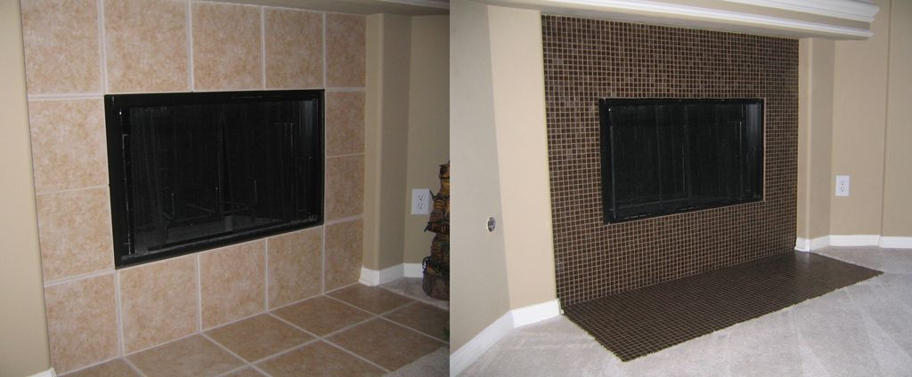 How to build a glassmosaic tile fireplace brick