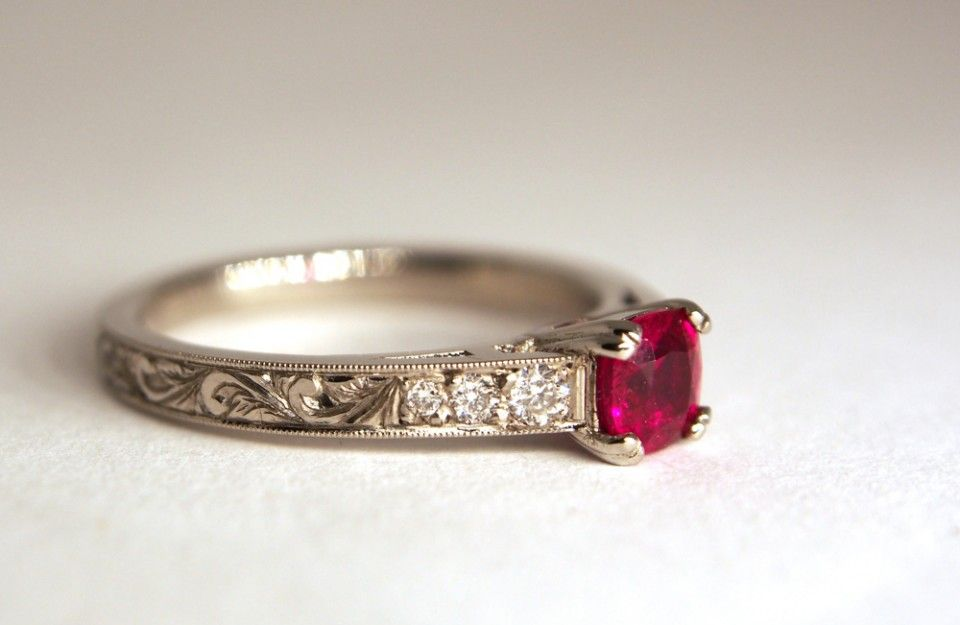Recycled Palladium And Vintage Ruby Engagement Ring