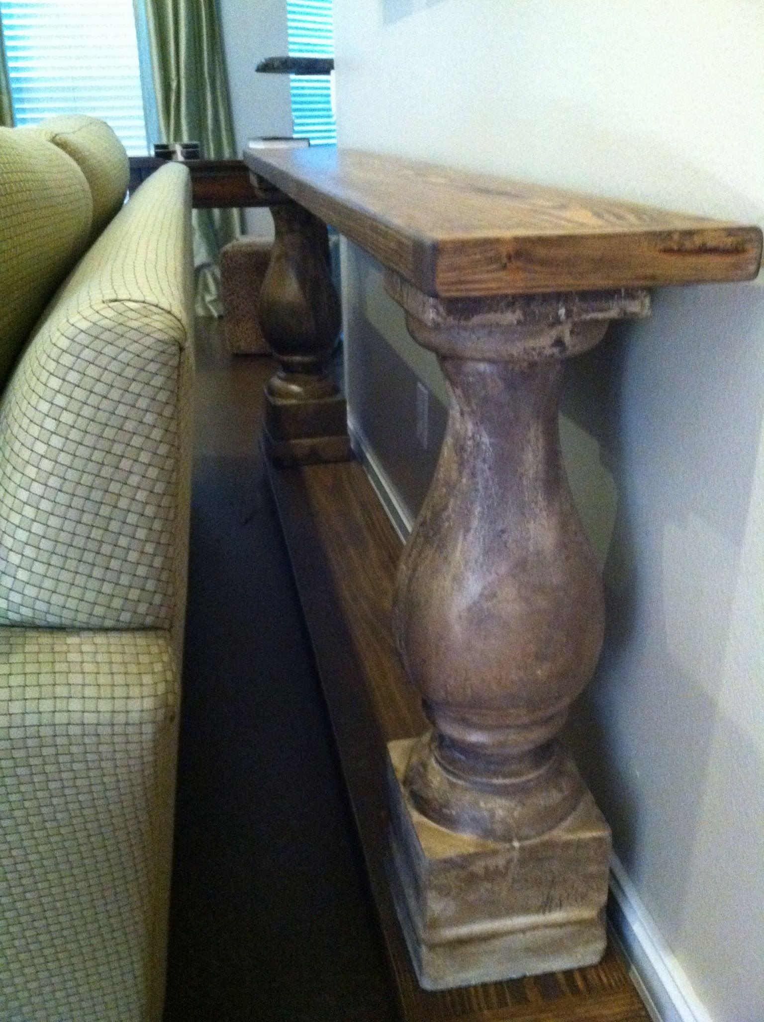 My Restoration Hardware like knockoff balustrade console table I