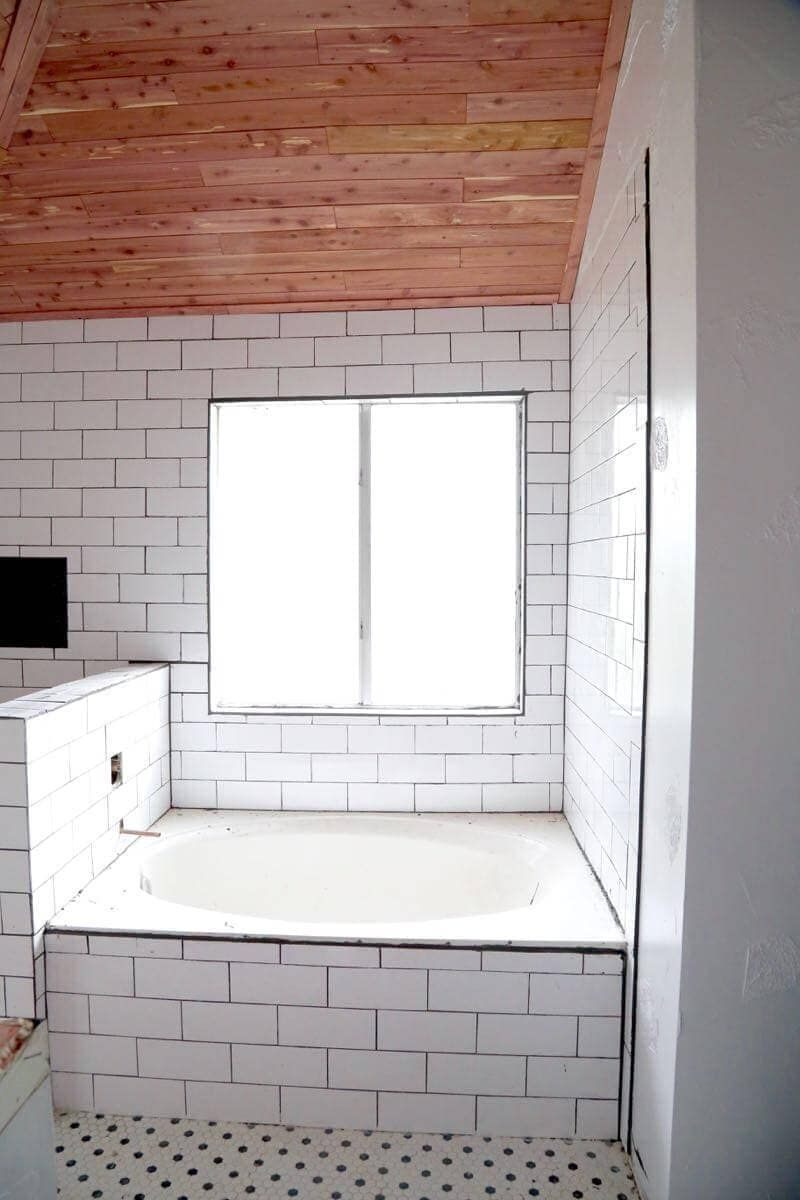 How To Install Cedar Tongue And Groove Planks On A Bathroom Ceiling To Create A Gorgeous Cedar Ceiling Bathroom Design Cedar Planks Tongue And Groove Ceiling