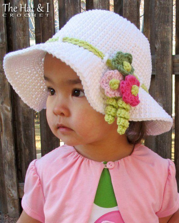 7a6e8a4b489 Crochet Hat PATTERN - Spring Garden - crochet pattern for sun hat ...