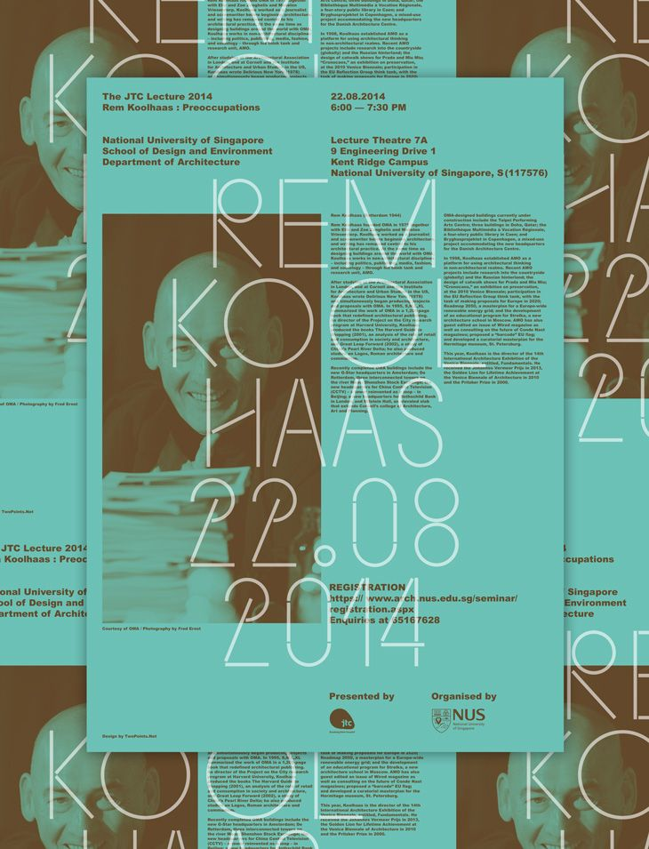 TwoPoints.Net has been commissioned to design the visual identity of the architecture lecture series at the National University of Singapore. The first lecturer has been Thom Mayne and the second Rem Koolhaas. Apart from a poster, other promotional items …
