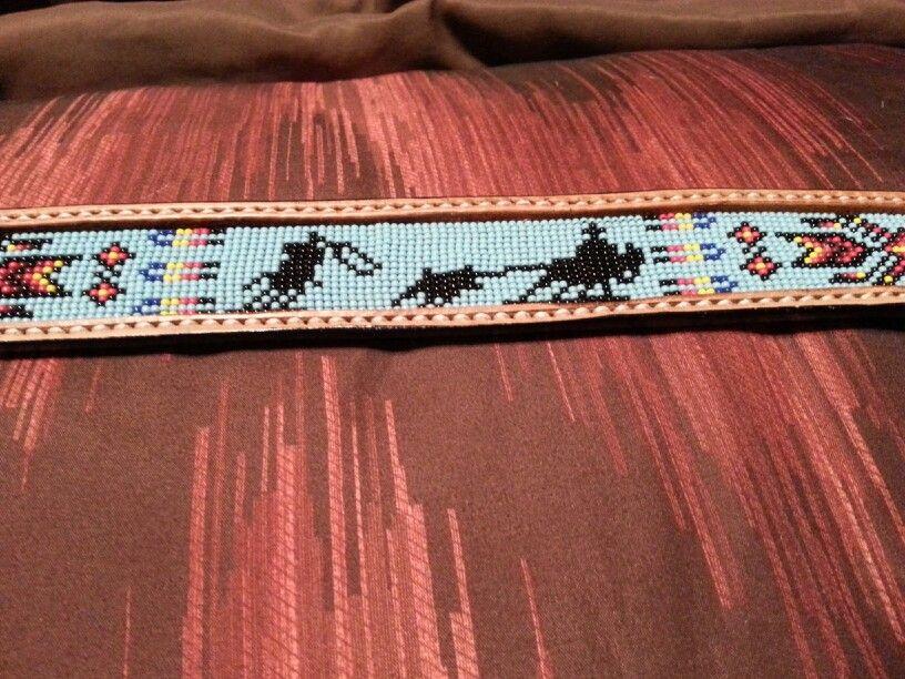 beaded belt inlay from j custom leather teamroper