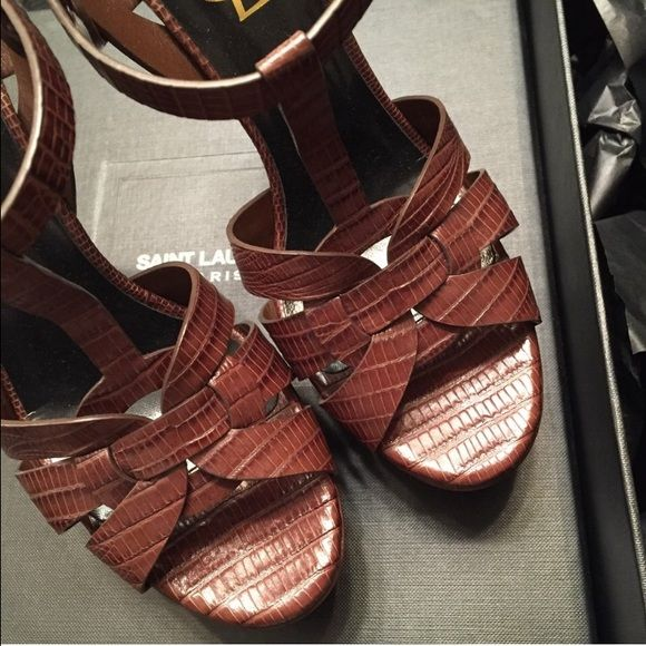 059201a5e793 YSL Lizard Embossed Tribute Sandals ( 400 on Depop App under username   classyshopper) Size