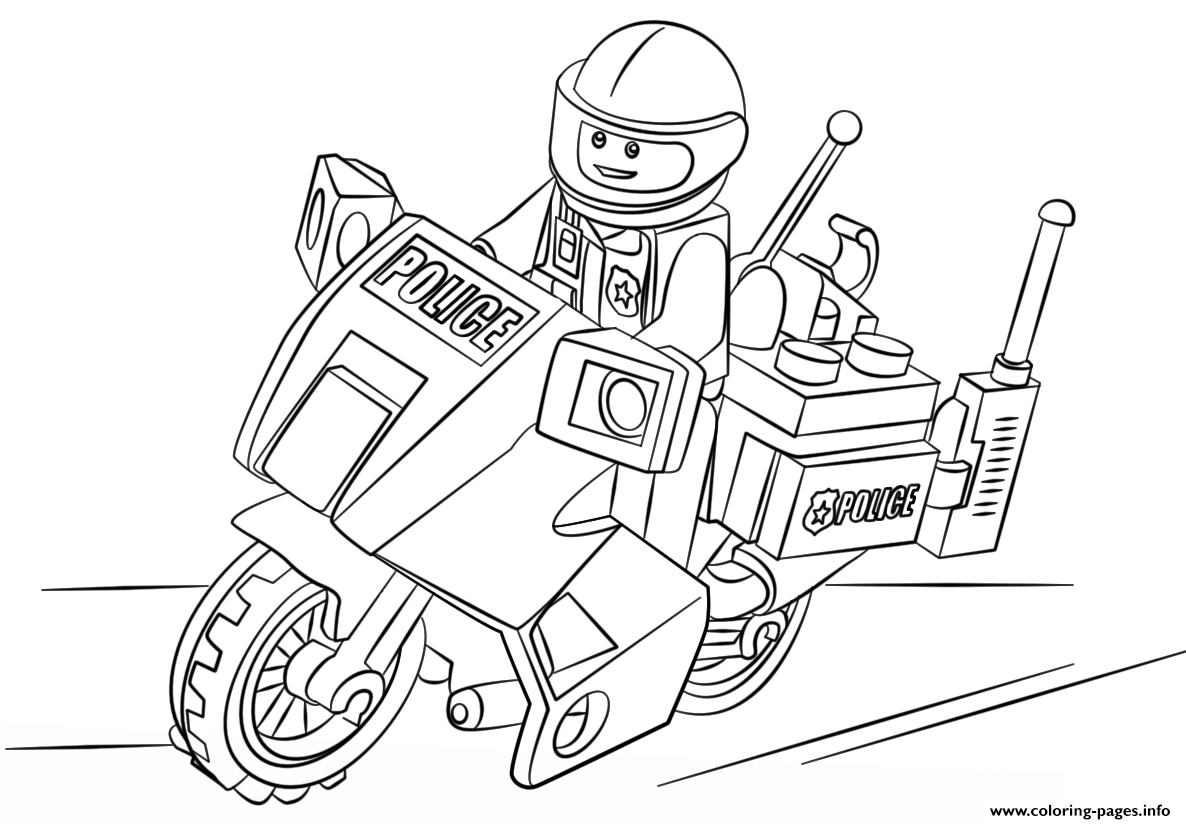 Free Download Lego Moto Police Car Coloring Pages Printable Lego Coloring Pages Lego Coloring Batman Coloring Pages