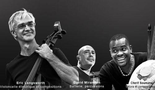 Photo de presse World Kora Trio Le World Kora trio en concert au studio de l'Ermitage à Paris les 10,11,12 mars 2015.