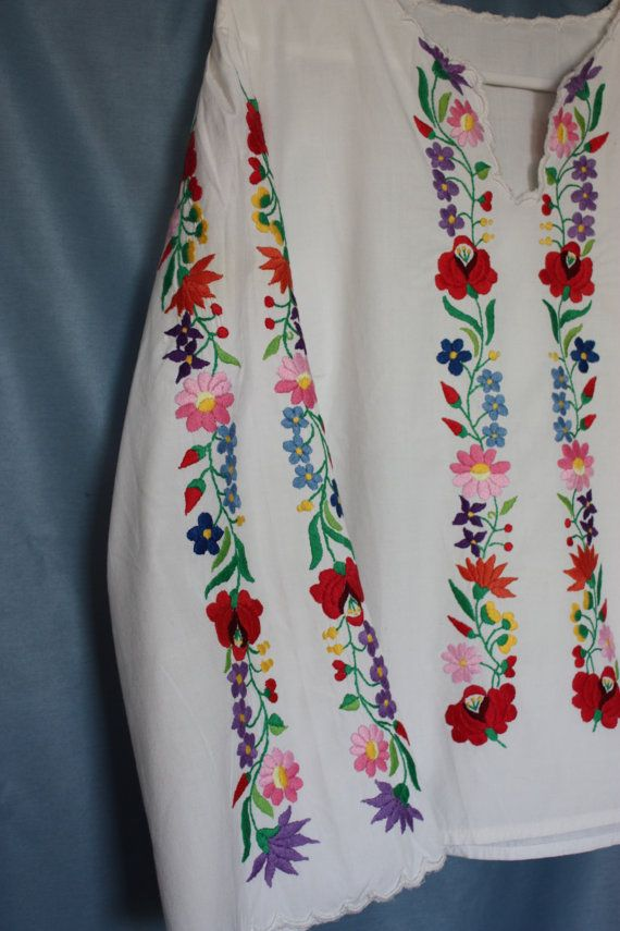 Vintage Embroidered blouse colorful florals by PitzicatVintage