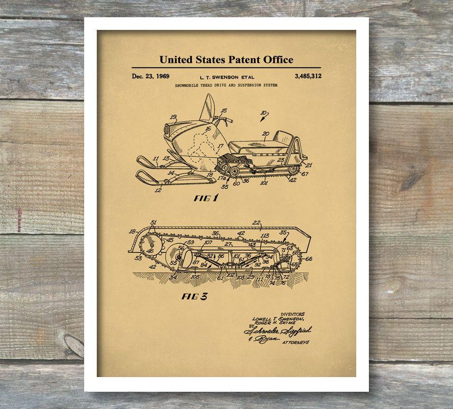 Patent Print, Snowmobile Patent 1969, Wall Decor, Ski Lodge Decor ...