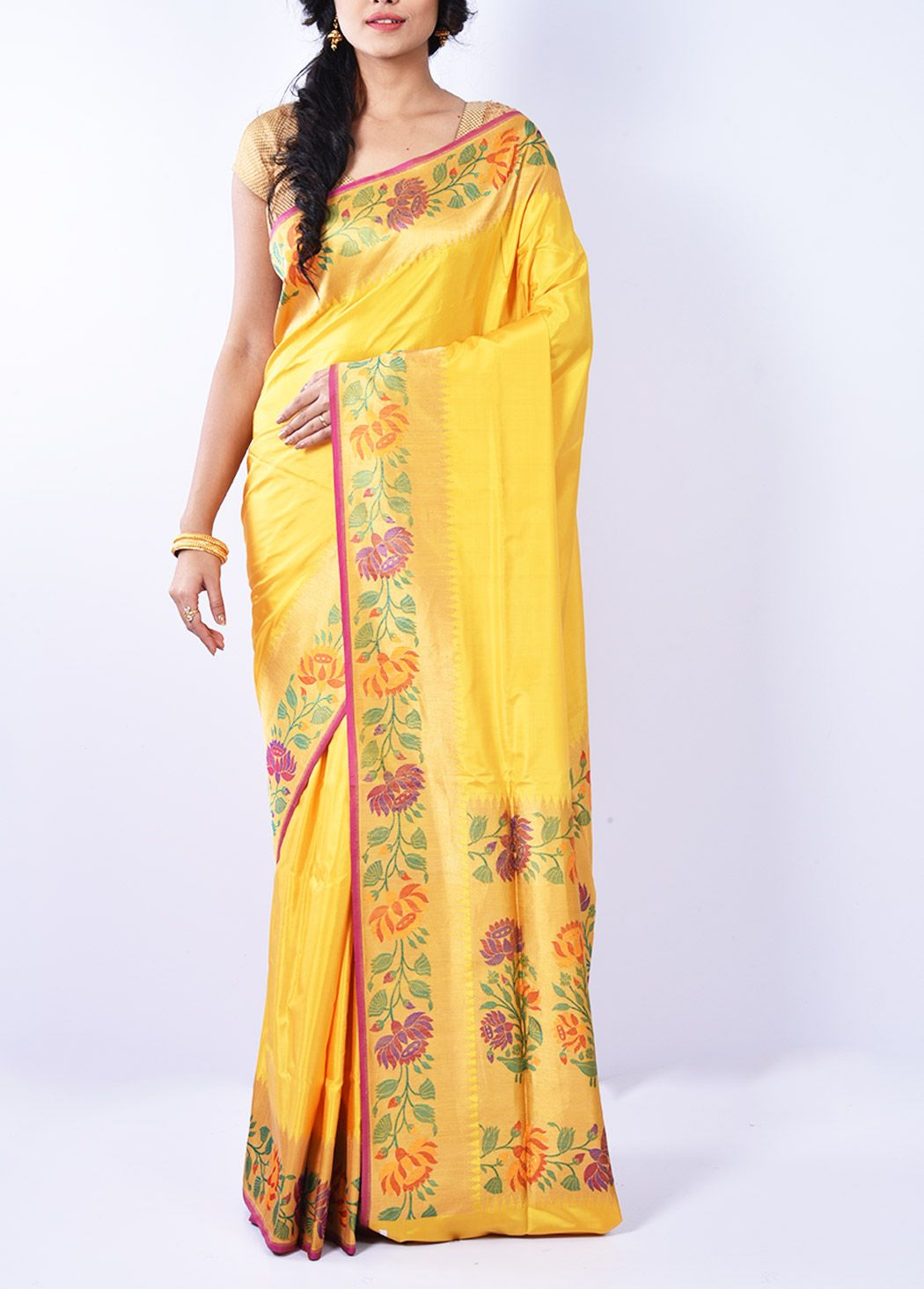 73a4556072fe1 Yellow Pure Silk Katan Saree With Blouse - F3012