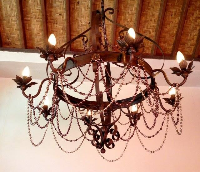 beaded iron chandelier