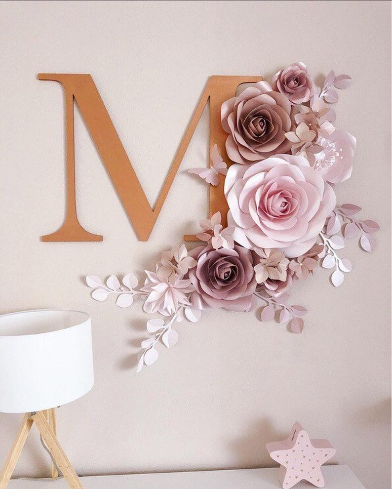 Blush Paper Flower Decoration - Nursery Paper Flowers Decor - Large Paper Flowers - Paper Flowers Wall Decor - Paper Flowers Decorations