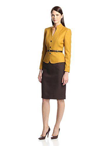 Tahari By Asl Women S Skirt Suit Mustard Brown Conservative