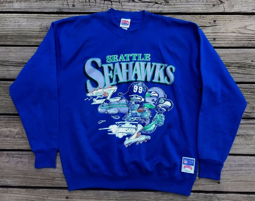 Vintage 80s Seattle Seahawks Jack Davis Design Nutmeg Crewneck Sweatshirt Xl Nutmeg Seattle Seattle Seahawks Funny Seattle Seahawks Football Seahawks Outfits [ 788 x 1000 Pixel ]