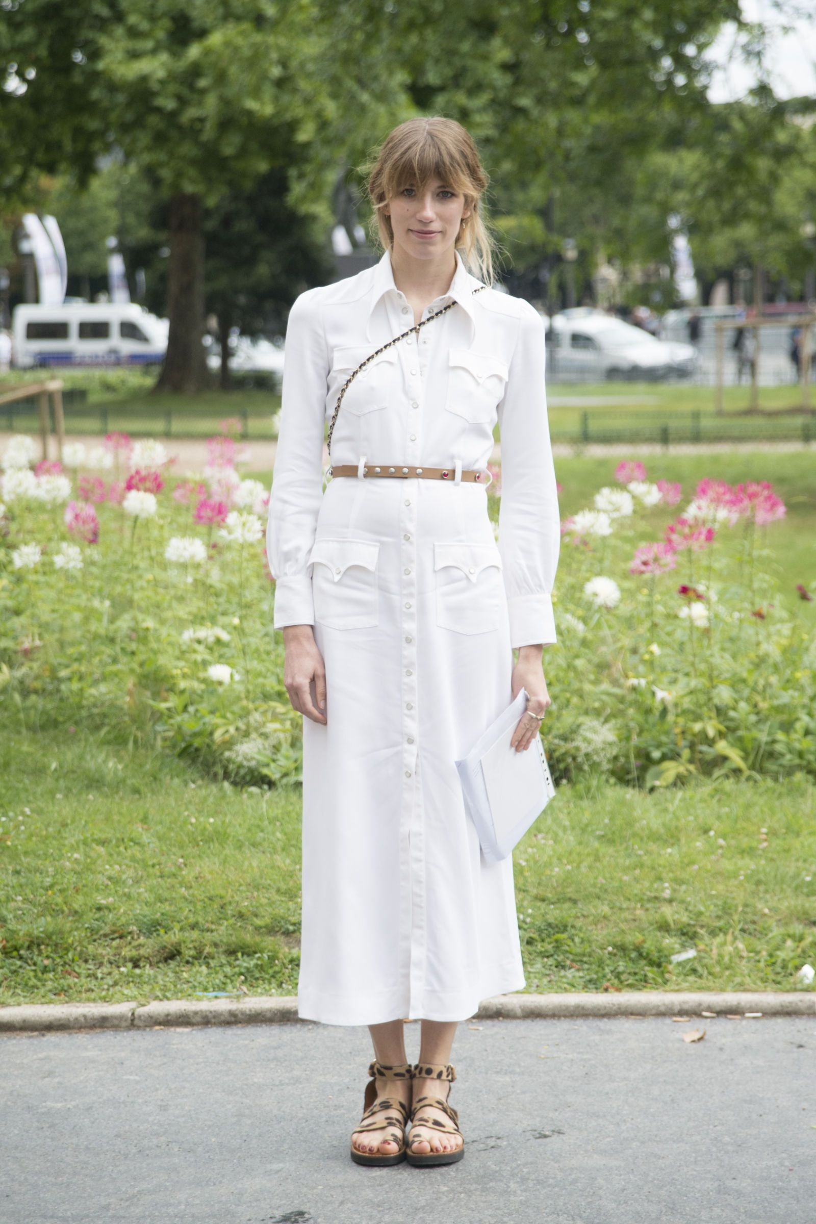 In a neutral shade like light brown, an ultra-skinny belt can thrown over anything and will cinch you waist in the process. We especially love it over a shirt dress, which is always a perennial favorite of the French.   - MarieClaire.com