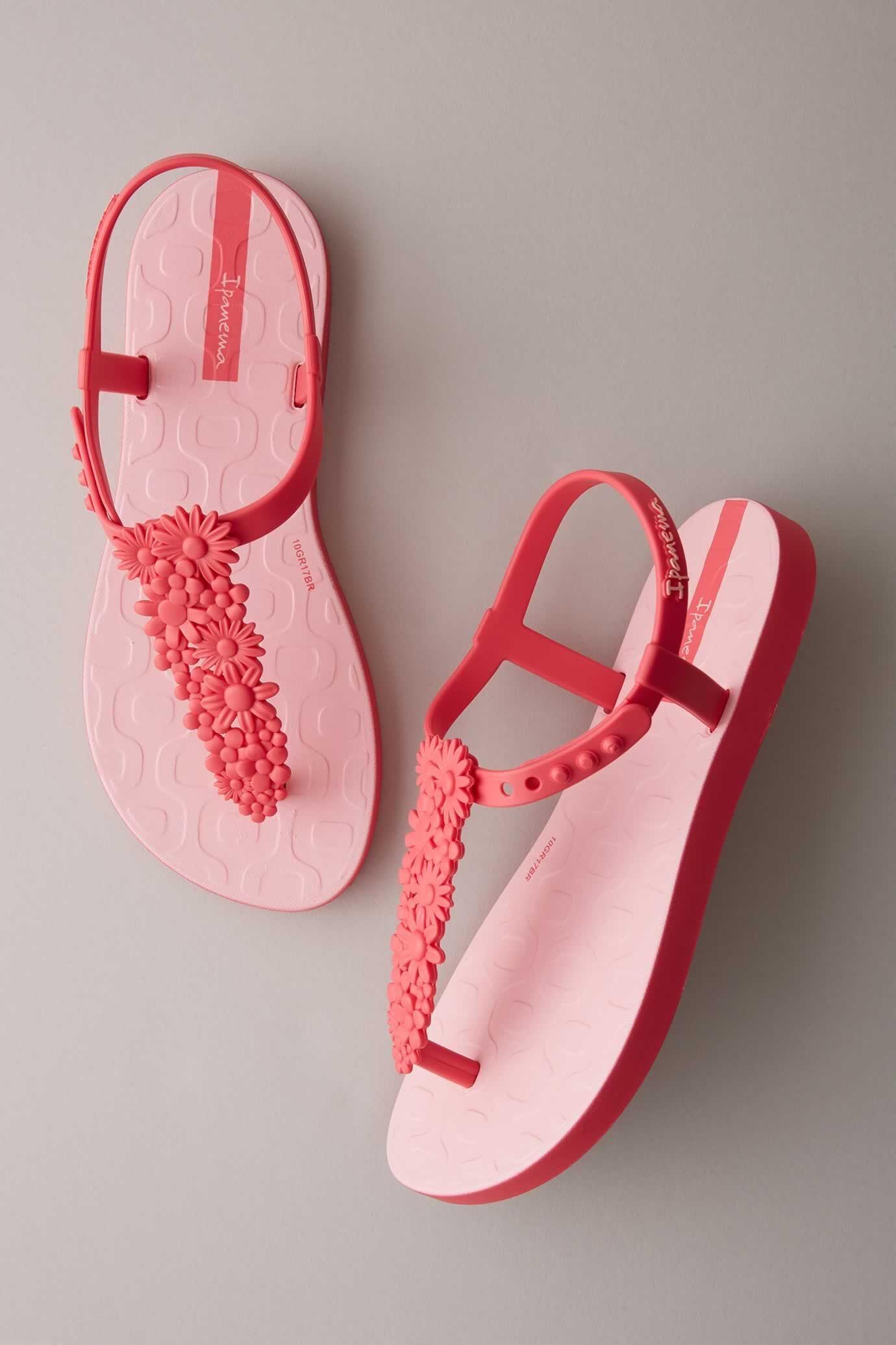 Girls Ipanema Pink Flower Sandals