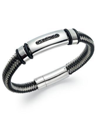 Men s Black Diamond Bracelet in Nylon and Stainless Steel 1 10 ct