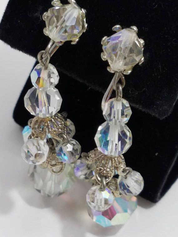 Pink Crystal Chandelier Earrings Vintage 1950s Bead Dangle Clip Earrings