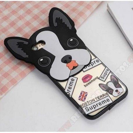 6a48d206935 Carcasa 3D divertida silicona diseño perro con orejas para mi iPhone 7 Plus