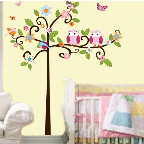 Kinderzimmer wandgestaltung baum selber malen  Babyzimmer Babybett Baum gemustert Ideen | Baby | Pinterest ...