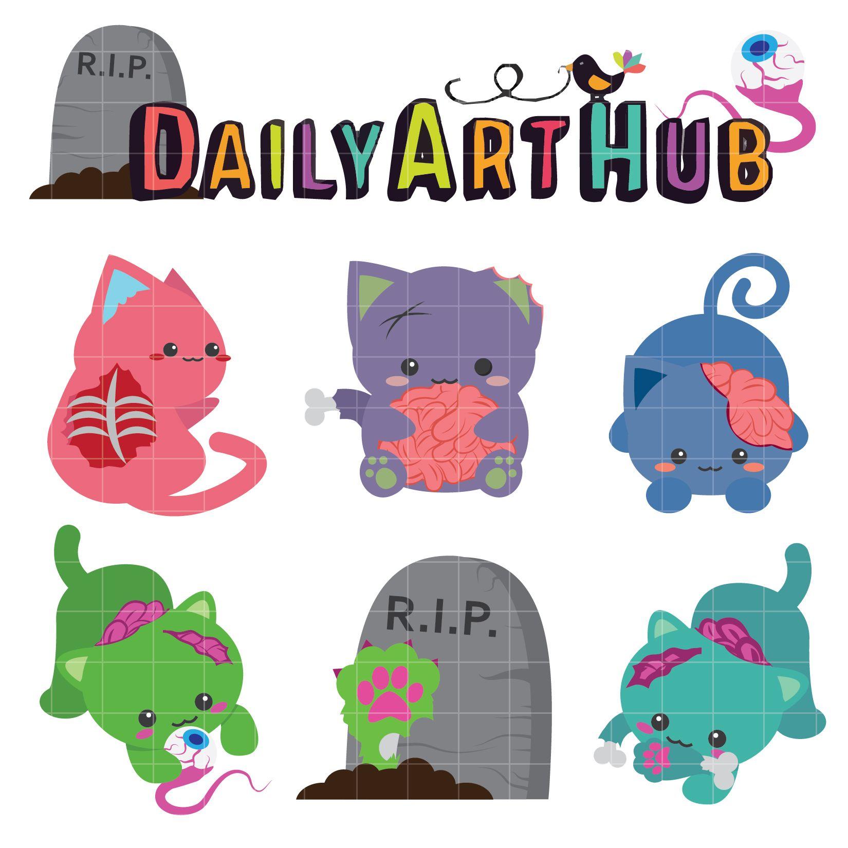 Cute Zombie Cats Clip Art Set Daily Art Hub Free Clip Art Everyday Cute Zombie Cat Clip Art Zombie Cat
