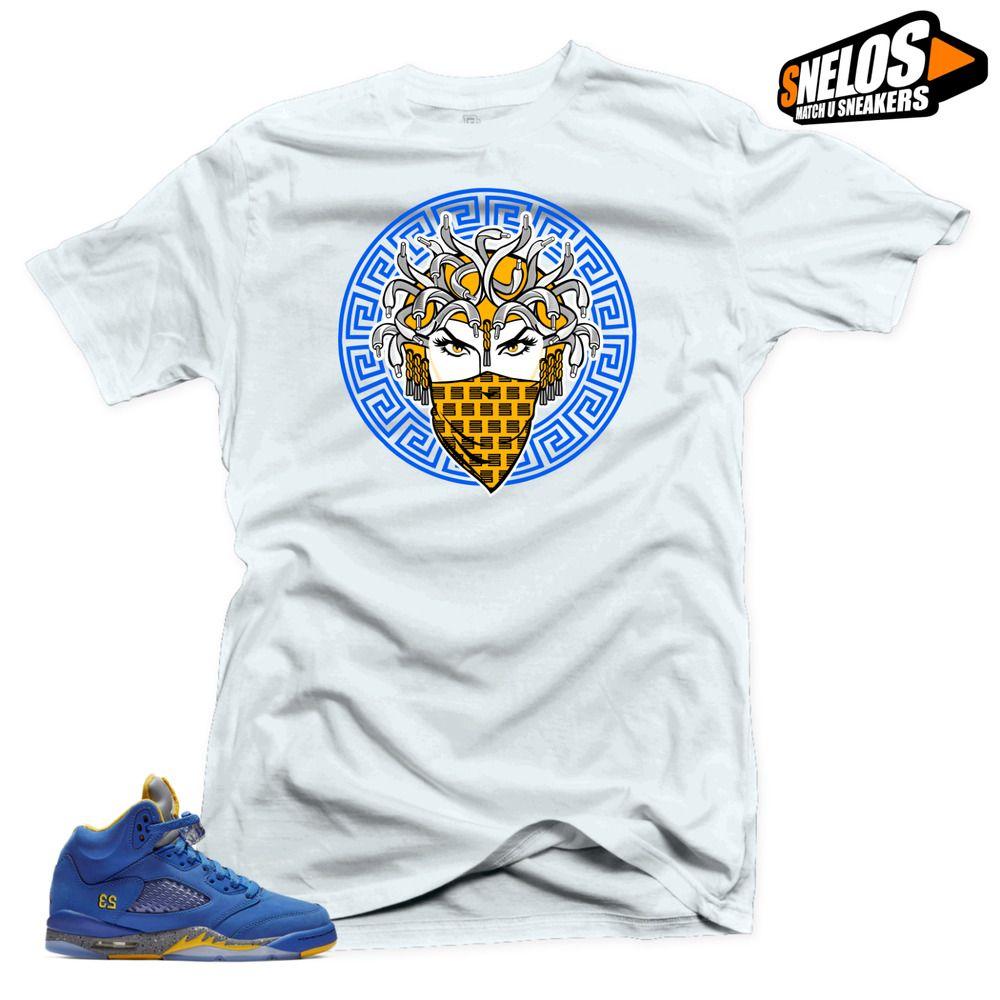c88db9f32608f5 Shirt to Match Jordan Retro 5 Alternate Laney JSP-Medusa 5 White Tee   SNELOS  PersonalizedTee