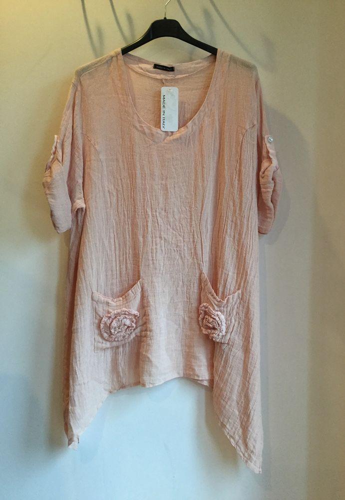 Lagenlook dress top tunic pink linen pockets Italian plus size fit 16 18 20