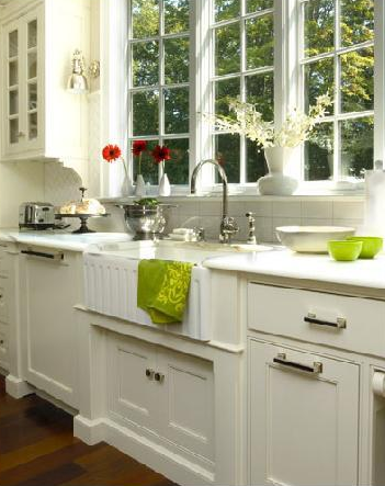 Marvelous Connecticut Kitchen Porcelain Farmhouse Sink, Ivory Glass Front Cabinets  And Marble ... I
