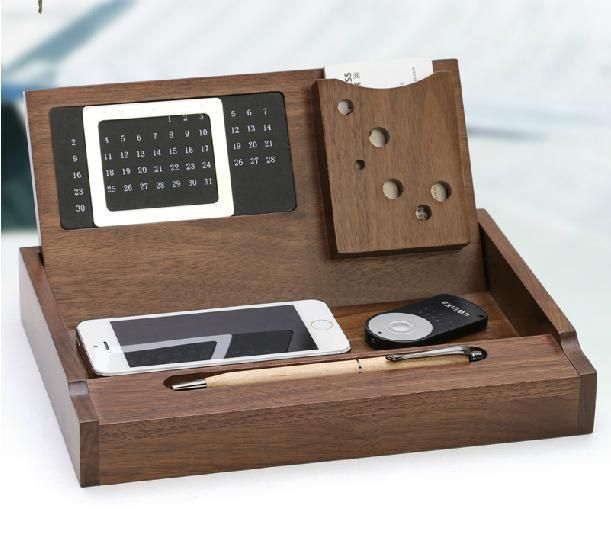 Creativo de madera de nogal escritorio de madera organizadores equipos de oficina multifunci n - Organizadores escritorio ...