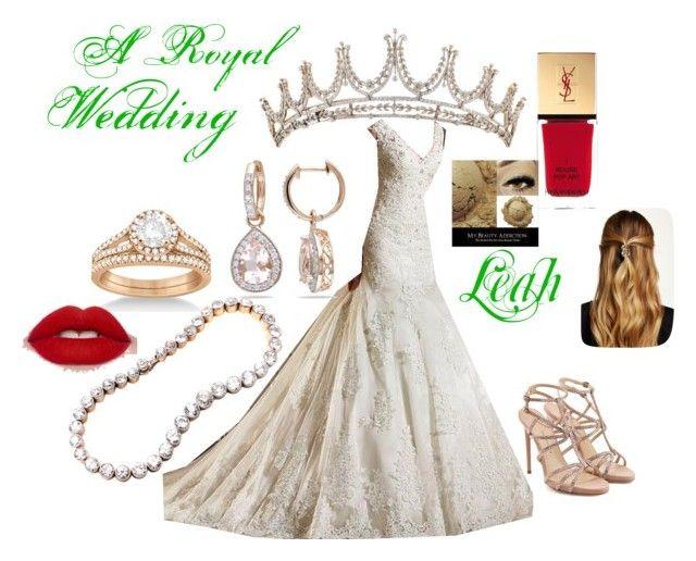 """Leah Wedding"" by faeryrain on Polyvore featuring Paul Andrew, Allurez, Yves Saint Laurent and Natasha Accessories"