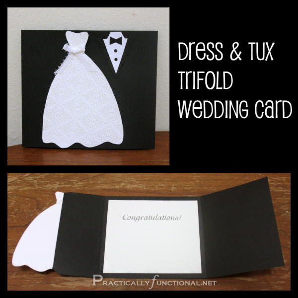 Diy wedding card dress tux trifold printable wedding card make your own trifold wedding card you just need paper and glue solutioingenieria Choice Image