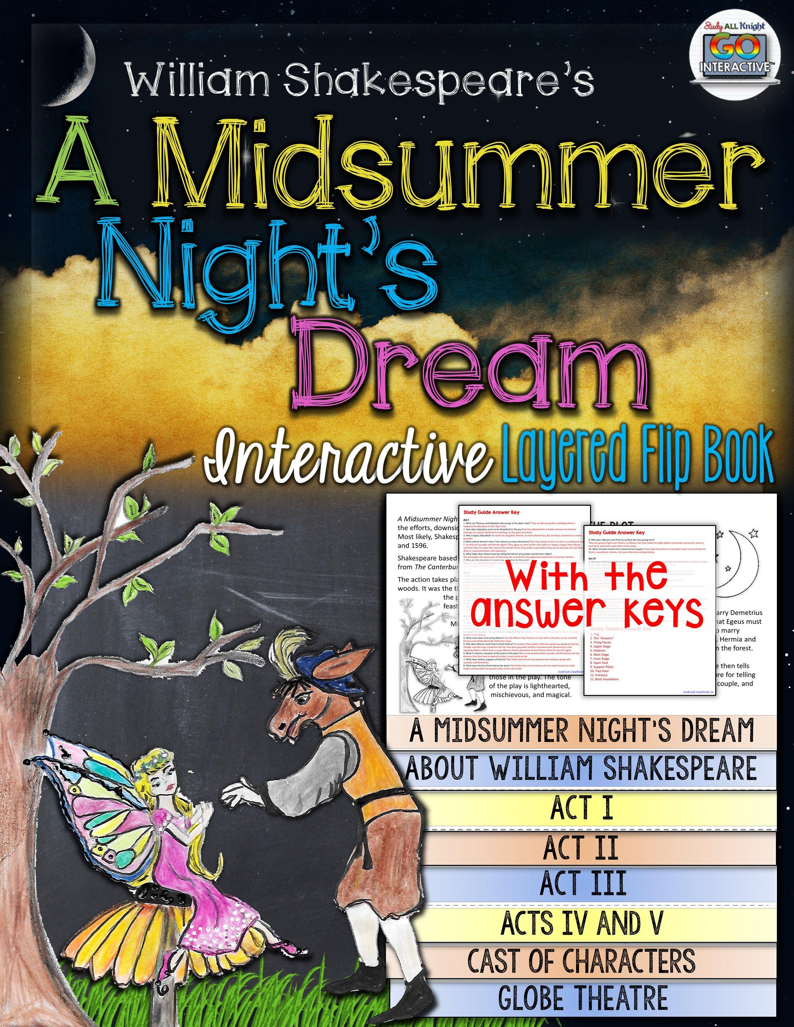 A Midsummer Night S Dream William Shakespeare Literature Guide Flip Book