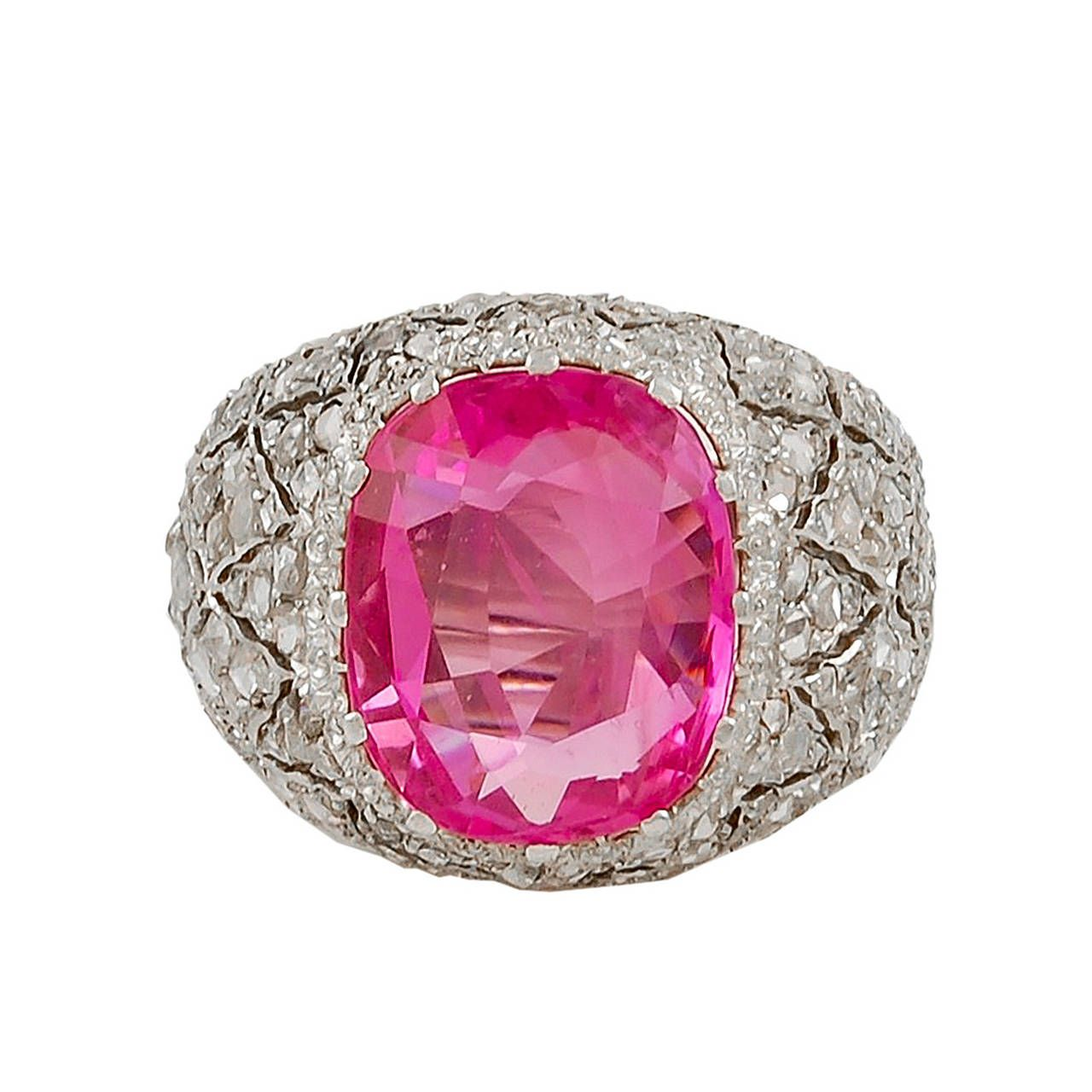 Buccellati Pink Sapphire Diamond Gold Dome Ring | From a unique ...