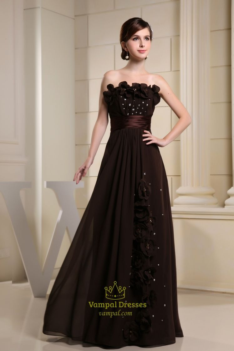 Long Brown Evening Dresses, Chocolate Brown Chiffon Bridesmaid ...