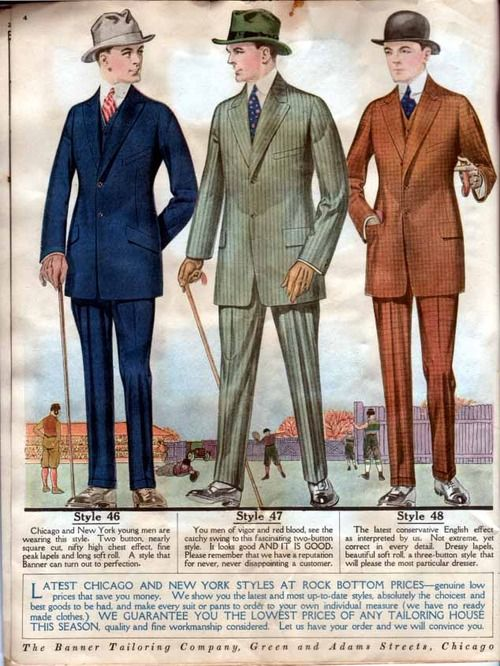 Kittyinva  1918-19 Fall Winter Banner Tailoring Co. men s suits in color! 2ff3502ca240