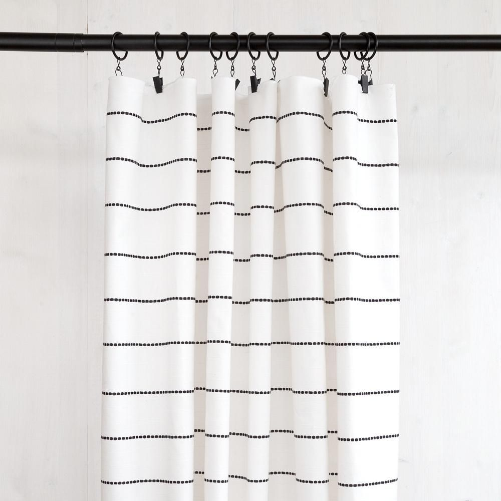 Emile Stripe Cotton Onyx Black Shower Curtains Modern Shower