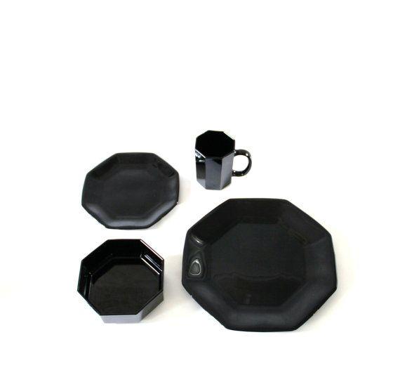 Arcoroc Black Dinnerware 35-Piece Set   Black dinnerware, Dinnerware ...