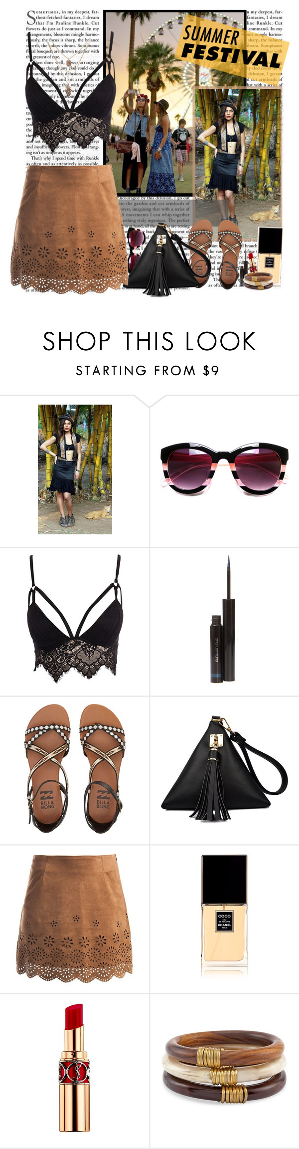 """""""Coachella Style"""" by fashionistlady ❤ liked on Polyvore featuring Club L, shu uemura, Billabong, Sans Souci, Chanel, Yves Saint Laurent and Chico's"""