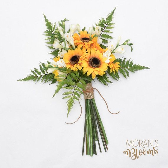 Sunflowers, Silk Wedding Bouquet, Wedding Flowers, Yellow