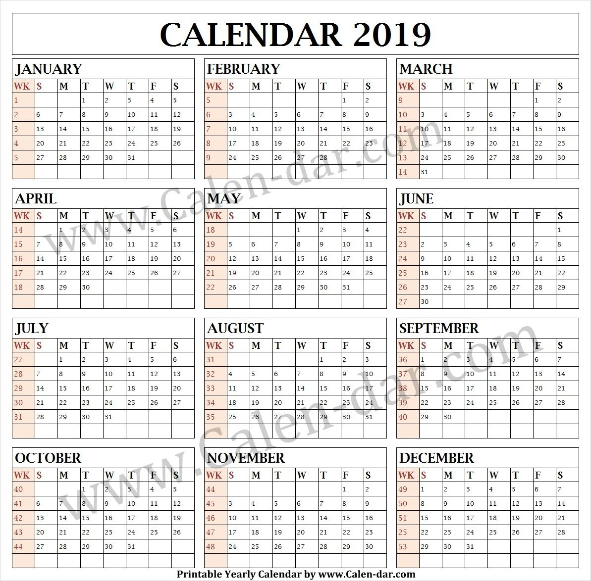 Calendar 2019 Week Wise Printable Template Calendar Print