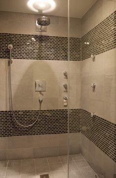 Showers With Accent Tiles Showers With Accent Tiles Brown Mosaic