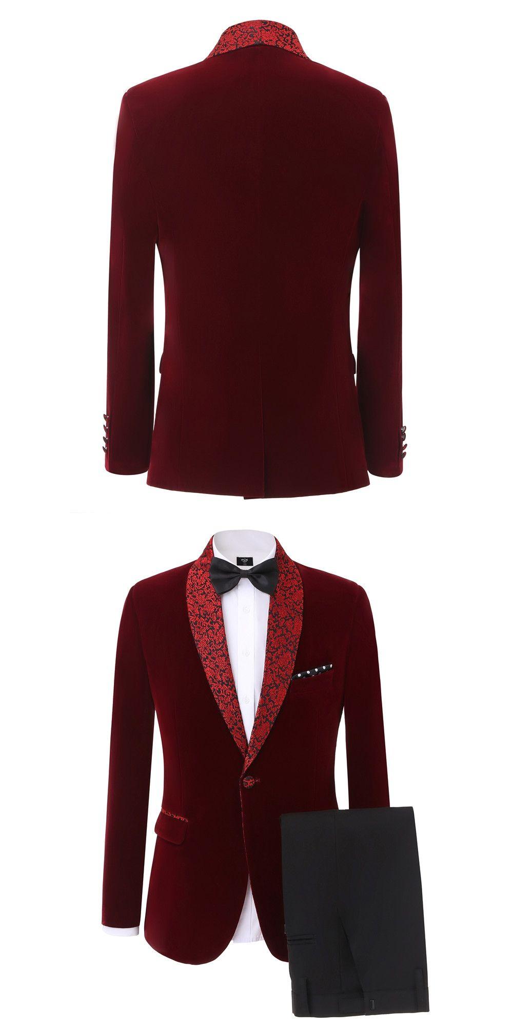 2017 Latest Coat Pant Designs Burgundy Velvet Men Suit Prom Tuxedo ...