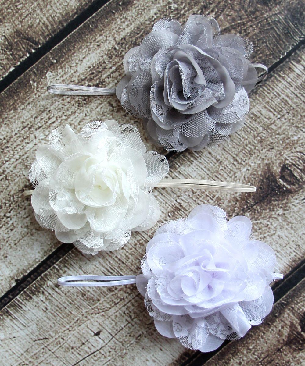 Whites and gray lace chiffon headbands - baby girl