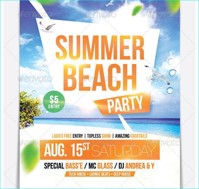 Summer Beach Party Flyer - Party Flyer Templates For Clubs