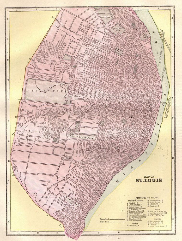 1900 Antique Map of St Louis Missouri Vintage City Map of St Louis ...