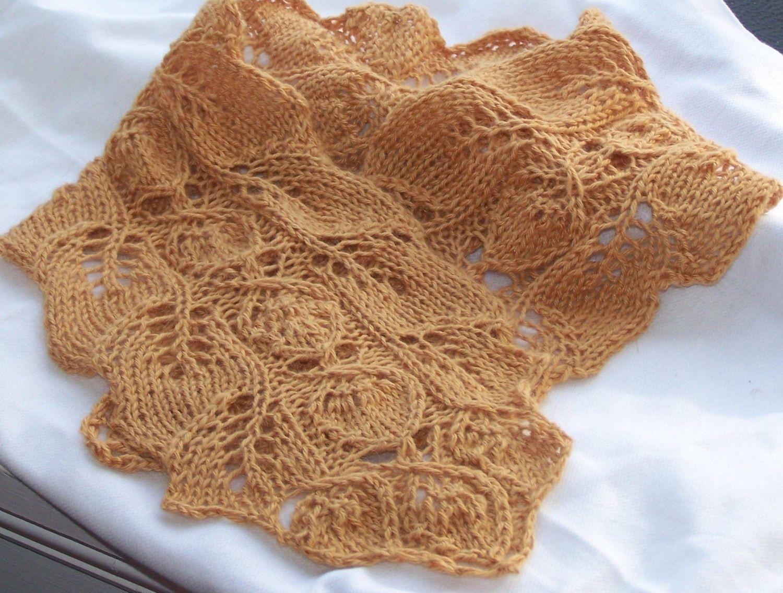 Instant Download pdf Hand Knitting Pattern - Rosebud Knit Neck ...