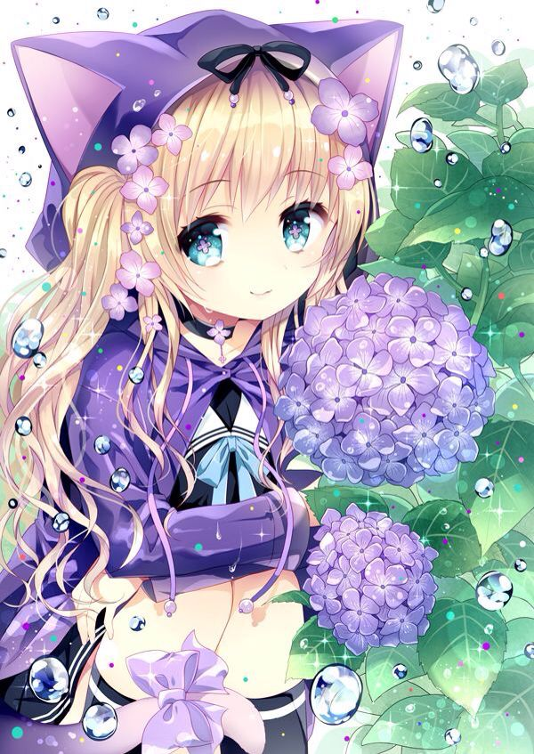 Purple Flowers Kawaii Anime Anime Anime Chibi